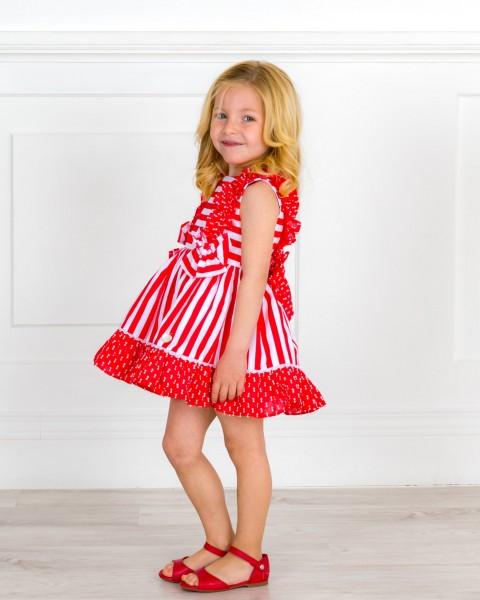 Outfit NIña Vestido Rayas & Plumeti Rojo & Sandalia Amelia Piel Rojo