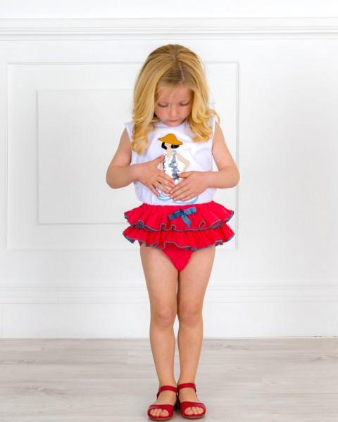 Outfit Niña Camiseta Lentejuelas Reversibles & Braguita Plumeti & Sandalia Amelia Rojo