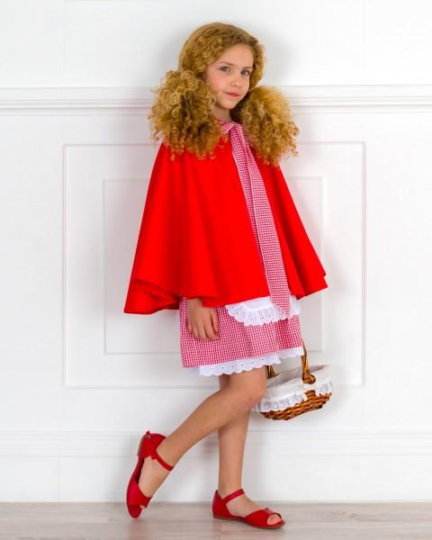 Outfit Niña Traje Artesanal Caperucita Roja 4 Piezas & Sandalia Piel Rojo