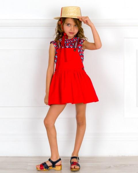 Outfit Niña Pichi Rojo & Braguita Estampado Floral & Zuecos Madera Marino & Rojo & Sombrero