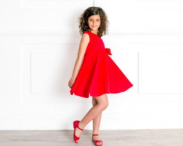 Outfit NiñaVestido Piqué Lunares & Lazo Rojo & Sandalia Amelia Piel Rojo