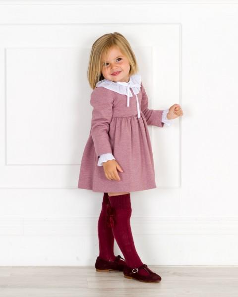 Outfit Niña Vestido Punto Rosa Viejo & Camisa Cuello Volante