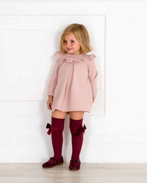 Outfitt Vestido Evasé Volante & Calzas Granate