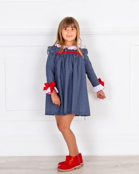 Look Niña Vestido Topitos Marino & Botines Glitter Rojo
