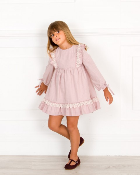 Outfit Vestido Topitos Rosa Empolvado