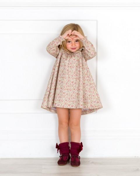 Outfit Niña Vestido Estampado Floral Granate & Beige