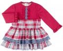Dolce Petit Vestido Niña Efecto 2 Piezas Volantes & Cuadros Fresa