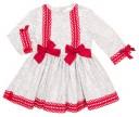 Vestido Floral Volantes Gris & Rojo