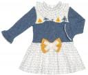 Foque Vestido Combinado Punto Azul & Estampado Forest Mostaza