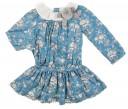 Vestido Azul Estampado floral cuello plumeti