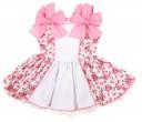 Vestido estampado floral con falda de vuelo y lazos de topitos