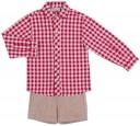 Dolce Petit Conjunto Niño Camisa Cuadros Granate & Short Beige