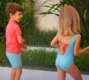 Bañador Verde & Rosa Flamencos con lazo