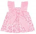 Vestido Niña Rosa Flores Vichy Lazo