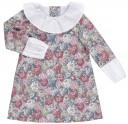 Ancar Vestido Estampado Floral Rosa Cuello & Mangas Popelin Blanco