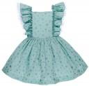 Lappepa Moda Infantil Vestido Niña Estrellas Plata & Volantes Fruncidos Verde Agua