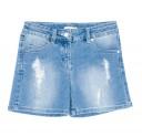 Short Denim Azul Con Aplique de Perlas