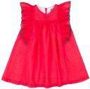 Mon Petit Bonbon Vestido Niña Plumeti Rojo Fresa &  Mangas Volante