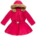 Dolce Petit Abrigo Niña Efecto 2 Pieza Rojo & Capucha Desmontable Pelo Sintético