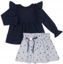 Baby Yiro Conjunto Niña Camiseta Aletas Marino & Falda Estrellas-Planetas Gris