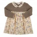 Vestido combinado cuello bebe cuerda