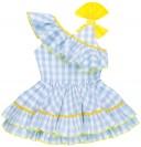 Nini Moda Infantil Vestido Niña Vichy Azul Celeste con Volante Cuello Asimétrico & Lazo Amarillo