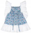Vestido Niña Azul Estampado Volante Blanco