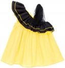 Missbaby Vestido Niña Lunares Amarillo & Doble Volante Asimétrico con Tul Negro
