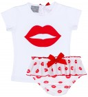 Mon Petit Bonbon Conjunto Bebé Camiseta Blanco & Braguita Labios Rojo