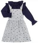 Baby Yiro Conjunto Niña Camiseta Cuello Volante Marino & Pichi Estrellas-Planetas