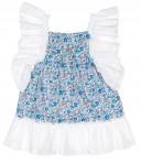 Baby Yiro Vestido Niña Azul Puntilla Blanco