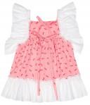 Vestido Niña Rosa Volantes Puntilla Blanco