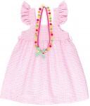 Vestido Niña Vichy Rosa & Collar Pompones