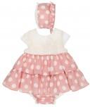Conjunto Bebé 3 Piezas Vestido Cuerpo Encaje Crudo & Falda Volantes Lunares Rosa Empolvado