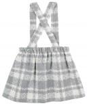 Conjunto Niña Blusa Cuello Volante Bordado Blanco & Falda Tirantes Cuadros Gris