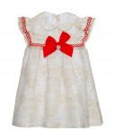 Vestido Beige & Rojo Detalles ganchillo