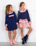 Outfit Niña Vestido Niña Evasé Piqué Marino & Volantes Rosa & Botines Piel Rosa