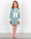 Outfit Niña Vestido Evasé Estrellitas Verde Empolvado & Botines Piel Rosa