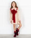 Missbaby Vestido Adel Topitos & Lazada Tul Plumeti Granate
