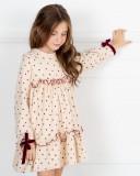 Missbaby Vestido Niña Casilda Topitos Granate & Volantes