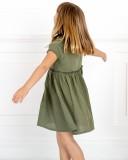 PLAY UP Vestido Algodón Orgánico Combinado Verde Caza