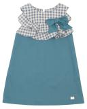 Vestido Evasé Azul & Volantes Vichy