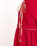 Vestido India Punto Elástico Rojo