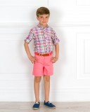 Outfit Niño Conjunto Camisa Cuadros & Short con Cinturón Coral & Alpargatas Cordones Piel Azul