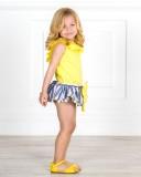 Outfit Niña Conjunto 2 Piezas Rayas Azules & Lazos Amarillos &  Sandalia Piel Amarillo