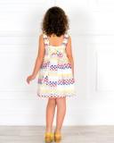 Rochy Vestido Niña Algodón Blanco Perforado & Bordado Multicolor