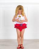 Mon Petit Bonbon Conjunto Niña Camiseta Lentejuelas Reversibles & Braguita Plumeti Rojo