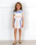 Ancar Vestido Niña Talle Bajo Estampado Rayas Azul & Beige