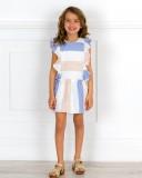 Outfit Niña Vestido Estampado Rayas Azul & Beige & Zuecos Madera Dorado