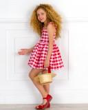 Outfit Niña Vestido Vichy & Sandalia Piel & Sombrero Cinta Grosgrain Rojo